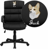 Embroidered Mid-Back Black Leather Swivel Task Chair with Arms [GO-1004-BK-LEA-EMB-GG]