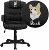 Embroidered Mid-Back Black Leather Swivel Task Chair with Arms [GO-937M-BK-LEA-EMB-GG]