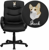 Embroidered Mid-Back Black Leather Swivel Task Chair with Arms [GO-977-1-BK-LEA-EMB-GG]