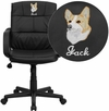 Embroidered Mid-Back Black Leather Swivel Task Chair with Arms [GO-228S-BK-LEA-EMB-GG]
