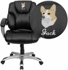 Embroidered Mid-Back Black Leather Swivel Task Chair with Arms [GO-931H-MID-BK-EMB-GG]