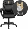 Embroidered Mid-Back Black Leather Overstuffed Swivel Task Chair with Arms [GO-724M-MID-BK-LEA-EMB-GG]
