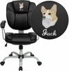 Embroidered Mid-Back Black Leather Swivel Task Chair with Arms [GO-930-BK-EMB-GG]