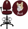 Embroidered Mid-Back Burgundy Fabric Multifunction Drafting Chair with Adjustable Lumbar Support and Adjustable Arms [WL-A654MG-BY-AD-EMB-GG]