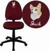 Embroidered Mid-Back Burgundy Fabric Multifunction Swivel Task Chair with Adjustable Lumbar Support [WL-A654MG-BY-EMB-GG]
