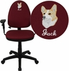 Embroidered Mid-Back Burgundy Fabric Multifunction Swivel Task Chair with Adjustable Lumbar Support and Adjustable Arms [WL-A654MG-BY-A-EMB-GG]