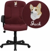 Embroidered Mid-Back Burgundy Fabric Executive Swivel Chair with Nylon Arms [GO-ST-6-BY-EMB-GG]