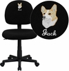 Embroidered Low Back Black Fabric Swivel Task Chair [BT-660-BK-EMB-GG]