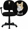 Embroidered Low Back Black Fabric Swivel Task Chair with Adjustable Arms [BT-660-1-BK-EMB-GG]