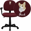 Embroidered Low Back Burgundy Fabric Swivel Task Chair with Adjustable Arms [BT-660-1-BY-EMB-GG]