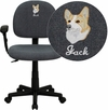 Embroidered Mid-Back Gray Fabric Swivel Task Chair with Adjustable Arms [BT-660-1-GY-EMB-GG]