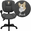 Embroidered Mid-Back Gray Fabric Multifunction Ergonomic Swivel Task Chair with Adjustable Arms [GO-930F-GY-ARMS-EMB-GG]