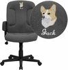 Embroidered Mid-Back Gray Fabric Executive Swivel Chair with Nylon Arms [GO-ST-6-GY-EMB-GG]