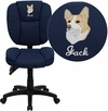 Embroidered Mid-Back Navy Blue Fabric Multifunction Ergonomic Swivel Task Chair [GO-930F-NVY-EMB-GG]