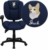Embroidered Mid-Back Navy Blue Fabric Multifunction Ergonomic Swivel Task Chair with Adjustable Arms [GO-930F-NVY-ARMS-EMB-GG]