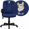 Embroidered Mid-Back Navy Fabric Executive Swivel Chair with Nylon Arms [GO-ST-6-NVY-EMB-GG]