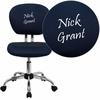 Embroidered Mid-Back Navy Mesh Swivel Task Chair with Chrome Base [H-2376-F-NAVY-EMB-GG]