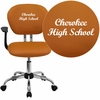 Embroidered Mid-Back Orange Mesh Swivel Task Chair with Chrome Base and Arms [H-2376-F-ORG-ARMS-EMB-GG]
