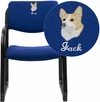Embroidered Navy Fabric Executive Side Reception Chair with Sled Base [BT-508-NVY-EMB-GG]
