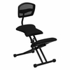 Ergonomic Kneeling Chair with Back in Black Mesh and Fabric [WL-3440-GG]