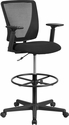 Ergonomic Mid-Back Mesh Drafting Chair with Black Fabric Seat,Adjustable Foot Ring and Adjustable Arms [GO-2100-A-GG]