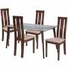 Escalon 5 Piece Walnut Wood Dining Table Set with Glass Top and Vertical Wide Slat Back Wood Dining Chairs - Padded Seats [ES-138-GG]