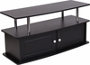 Evanston Black TV Stand with Shelves, Cabinet and Stainless Steel Tubing [NAN-NJ-TS082-GG]