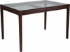 Everett 31.5'' x 47.5'' Solid Walnut Wood Table with Clear Glass Top and Exposed Industrial Hardware [SK-TC-5048-W-GG]