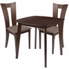 Exeter 3 Piece Espresso Wood Dining Table Set with Slotted Back Wood Dining Chairs - Padded Seats [ES-61-GG]