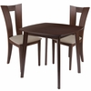 Exeter 3 Piece Walnut Wood Dining Table Set with Slotted Back Wood Dining Chairs - Padded Seats [ES-75-GG]