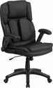 Extreme Comfort High Back Black Leather Executive Swivel Chair with Flip-Up Arms [BT-90275H-GG]
