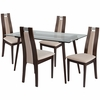 Fairview 5 Piece Espresso Wood Dining Table Set with Glass Top and Curved Slat Wood Dining Chairs - Padded Seats [ES-150-GG]