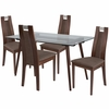 Fairview 5 Piece Walnut Wood Dining Table Set with Glass Top and Curved Slat Wood Dining Chairs - Padded Seats [ES-164-GG]