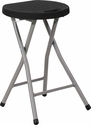 Foldable Stool with Black Plastic Seat and Titanium Frame [DAD-YCD-30-GG]
