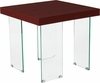 Forest Hills Collection Red Cherry Wood Grain Finish End Table with Glass Legs [NAN-JH-1754-GG]