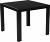 Franklin Collection Sleek Black Glass End Table with Black Metal Legs [HG-112371-GG]