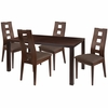 Fullerton 5 Piece Espresso Wood Dining Table Set with Window Pane Back Wood Dining Chairs - Padded Seats [ES-30-GG]
