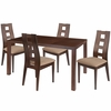 Fullerton 5 Piece Walnut Wood Dining Table Set with Window Pane Back Wood Dining Chairs - Padded Seats [ES-44-GG]
