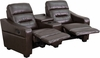 Futura Series 2-Seat Reclining Brown Leather Theater Seating Unit with Cup Holders [BT-70380-2-BRN-GG]