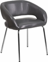 Fusion Series Contemporary Gray Leather Side Reception Chair [CH-162731-GY-GG]