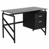 Glass Desk with Two Drawer Pedestal [NAN-WK-036-GG]