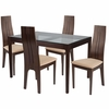 Glendale 5 Piece Espresso Wood Dining Table Set with Glass Top and Padded Wood Dining Chairs [ES-92-GG]