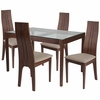 Glendale 5 Piece Walnut Wood Dining Table Set with Glass Top and Padded Wood Dining Chairs [ES-106-GG]