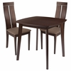 Glocester 3 Piece Espresso Wood Dining Table Set with Clean Line Wood Dining Chairs - Padded Seats [ES-63-GG]
