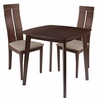 Glocester 3 Piece Walnut Wood Dining Table Set with Clean Line Wood Dining Chairs - Padded Seats [ES-77-GG]