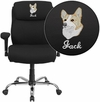 Embroidered HERCULES Series Big & Tall 400 lb. Rated Black Fabric Swivel Task Chair with Adjustable Arms [GO-2031F-EMB-GG]