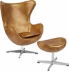 Gold Leather Egg Chair with Tilt-Lock Mechanism and Ottoman [ZB-24-CH-OT-GG]