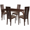 Graham 5 Piece Espresso Wood Dining Table Set with Clean Line Wood Dining Chairs - Padded Seats [ES-7-GG]