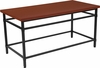 Granada Hills Collection Norway Cherry Inlaid Wood Grain Finish Coffee Table with Black Metal Legs [NAN-JH-1794CT-GG]