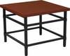Granada Hills Collection Norway Cherry Inlaid Wood Grain Finish End Table with Black Metal Legs [NAN-JH-1794ET-GG]